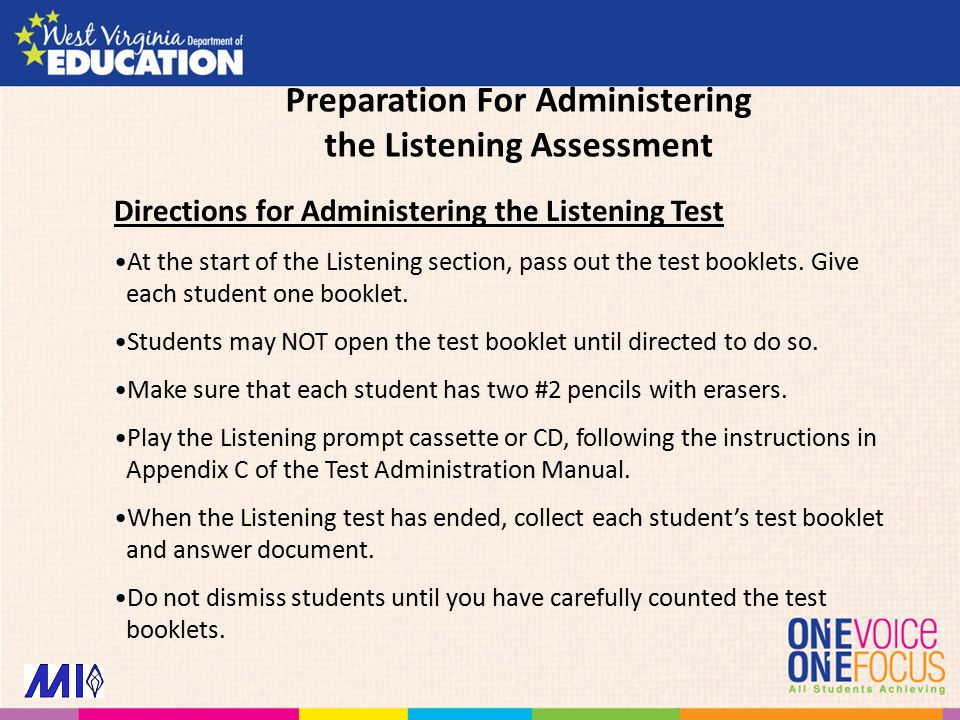 Directions for Administering the Listening Test At the start of the Listening section, pass out the test booklets.