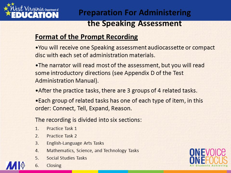Format of the Prompt Recording You will receive one Speaking assessment audiocassette or compact disc with each set of administration materials.