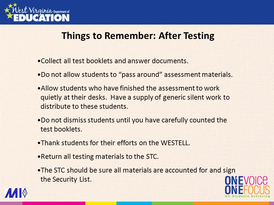 Collect all test booklets and answer documents.