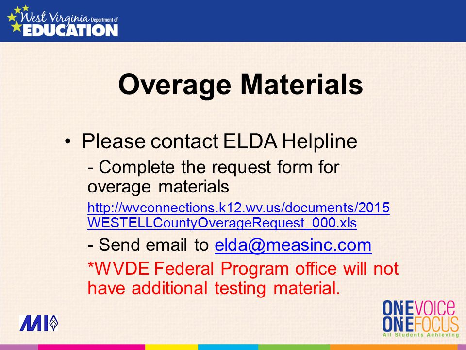 Overage Materials Please contact ELDA Helpline - Complete the request form for overage materials http://wvconnections.k12.wv.us/documents/2015 WESTELLCountyOverageRequest_000.xls - Send email to elda@measinc.comelda@measinc.com *WVDE Federal Program office will not have additional testing material.