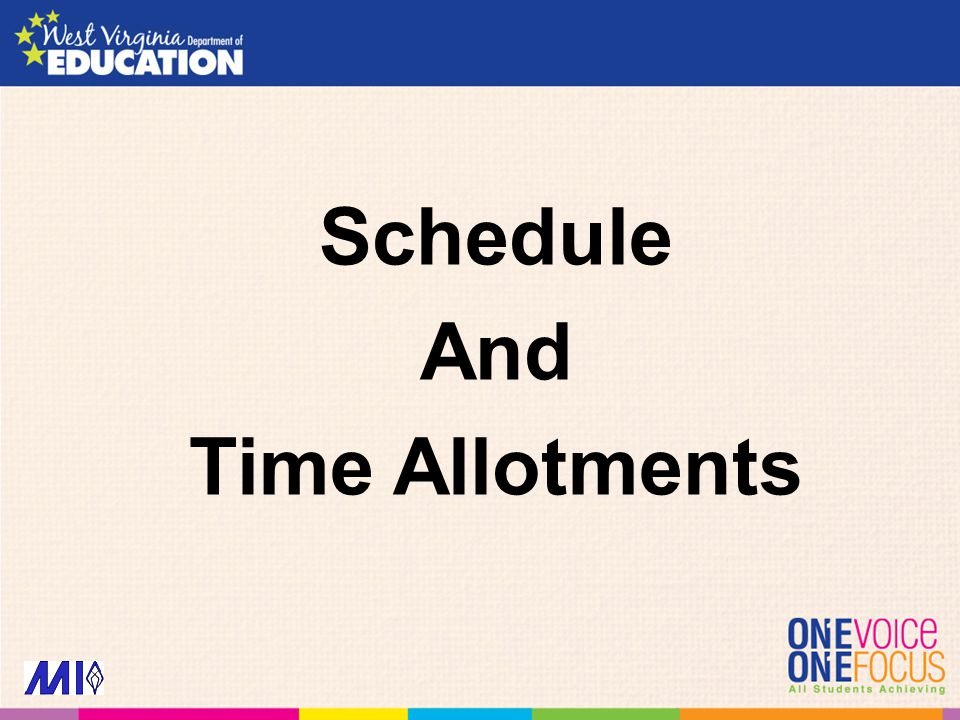 Schedule And Time Allotments