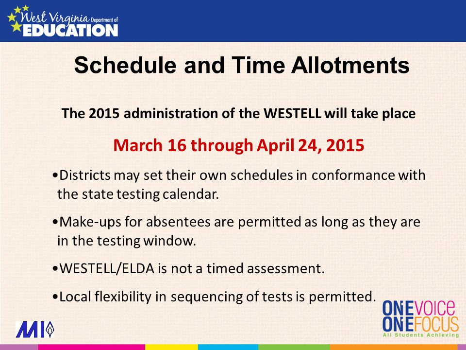 Schedule and Time Allotments The 2015 administration of the WESTELL will take place March 16 through April 24, 2015 Districts may set their own schedu