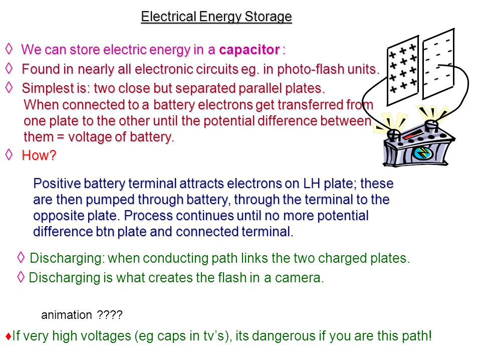 Potential difference or Voltage (symbol V) When the ends of an electric conductor are at different electric potential, charge flows from one end to the other.