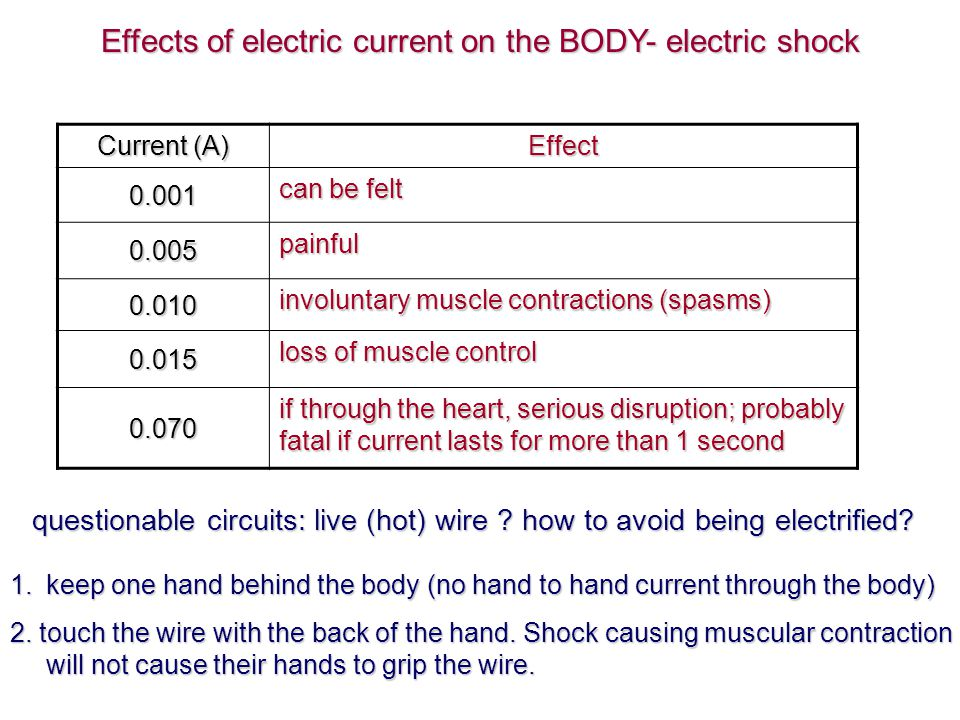 human body resistance varies: 100 ohms if soaked with salt water; moist skin - 1000 ohms; normal dry skin – 100 000 ohms, extra dry skin – 500 000 ohms.