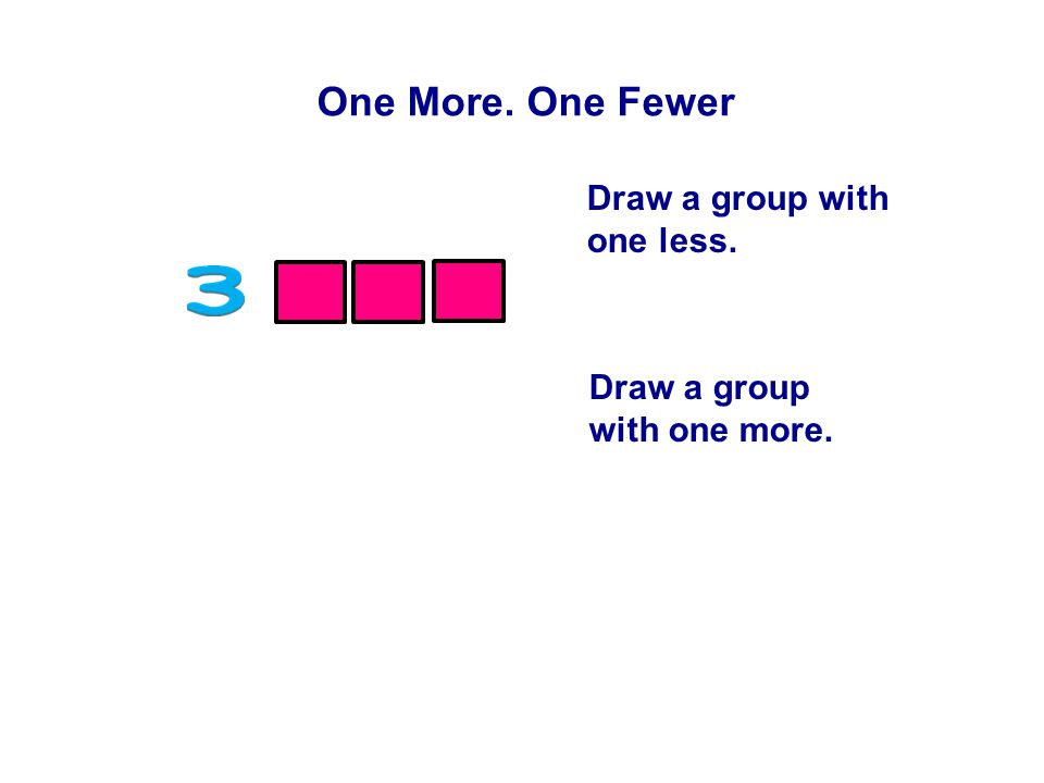 One More. One Fewer Draw a group with one less. Draw a group with one more.