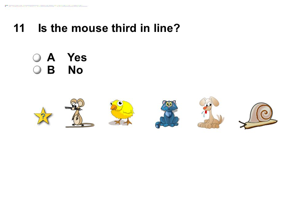 11 Is the mouse third in line A Yes B No