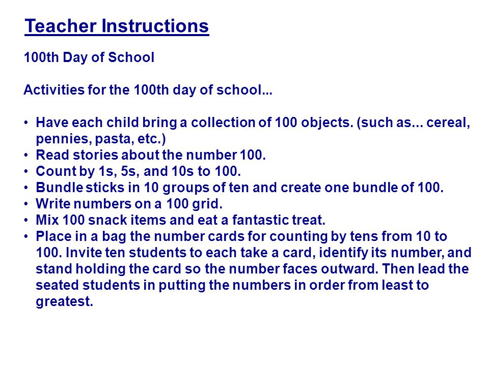 100th Day of School Activities for the 100th day of school...