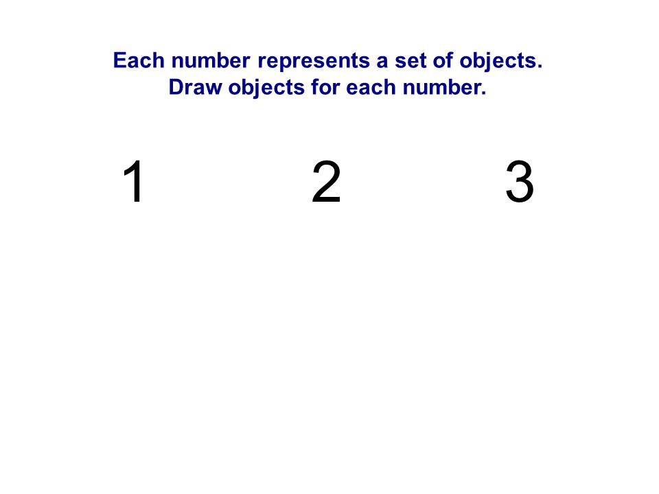 Each number represents a set of objects. Draw objects for each number. 12 3