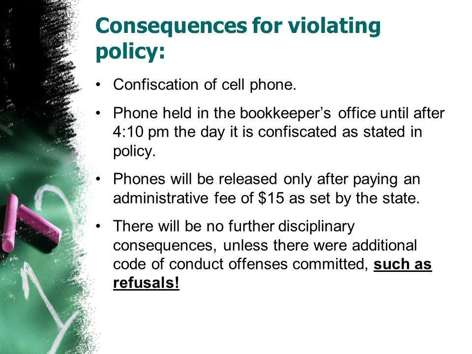 Consequences for violating policy: Confiscation of cell phone.