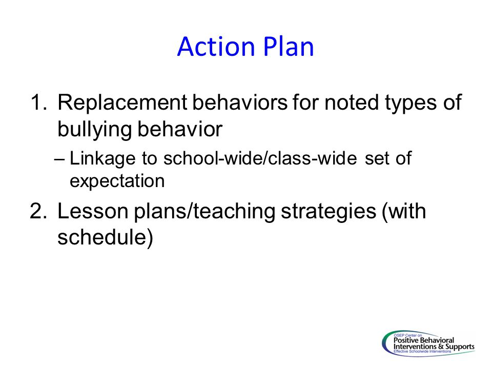 Action Plan 1.Replacement behaviors for noted types of bullying behavior –Linkage to school-wide/class-wide set of expectation 2.Lesson plans/teaching strategies (with schedule)