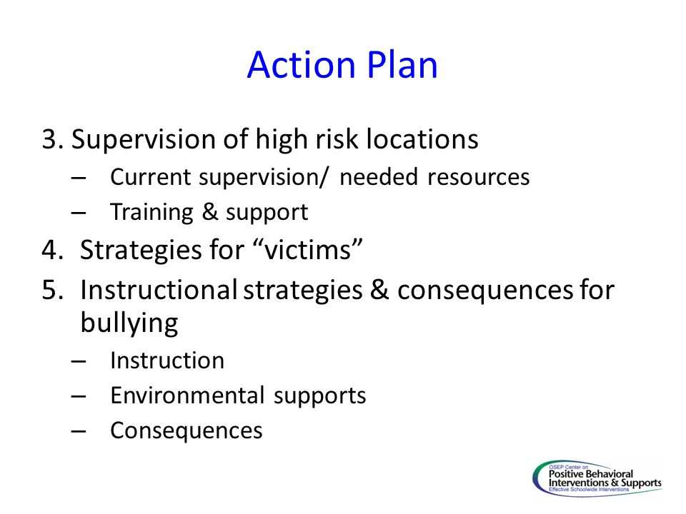 """Action Plan 3. Supervision of high risk locations – Current supervision/ needed resources – Training & support 4.Strategies for """"victims"""" 5.Instructio"""