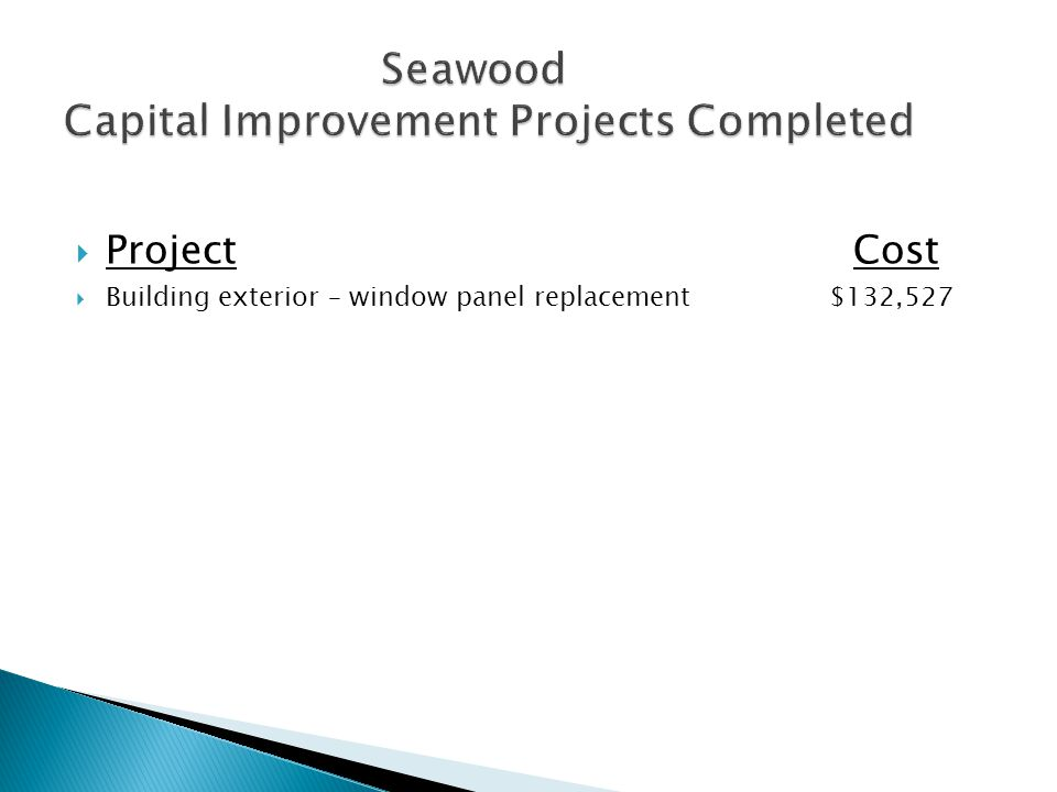  Project Cost  Building exterior – window panel replacement $132,527