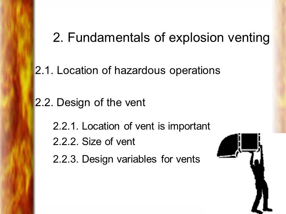 2.Fundamentals of explosion venting 2.1. Location of hazardous operations 2.2.