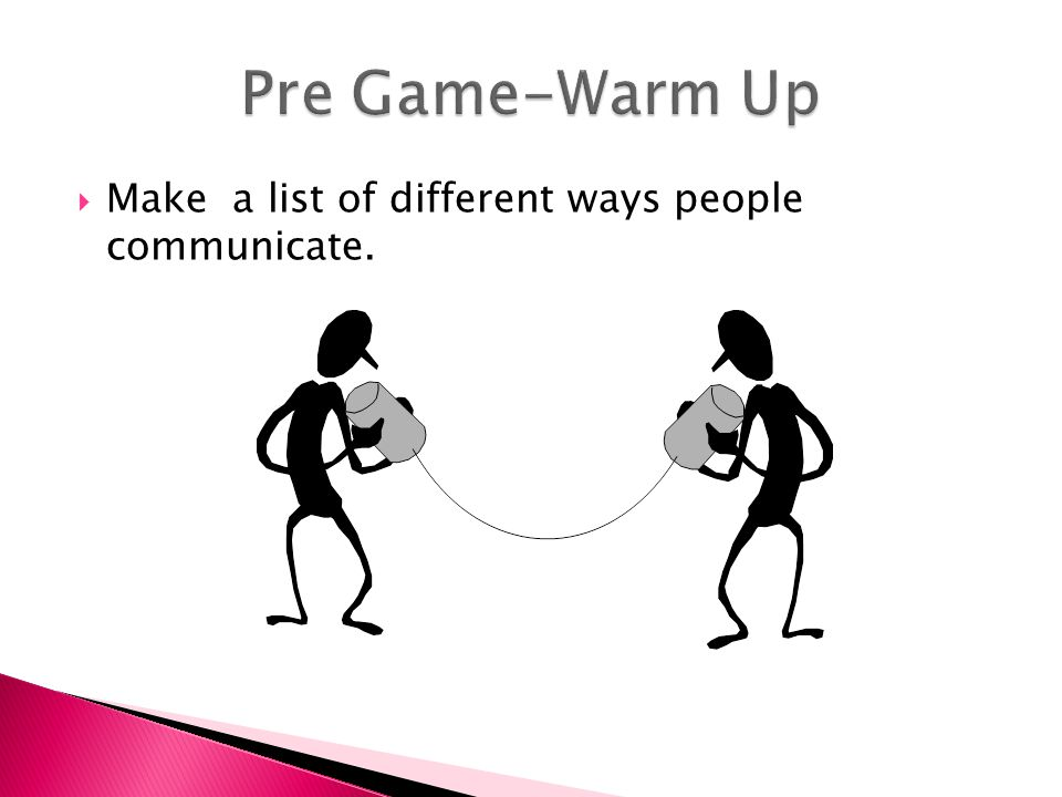  Make a list of different ways people communicate.