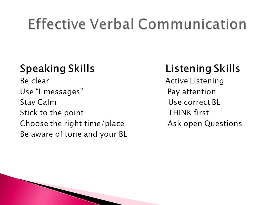  Active Listening is hearing, thinking about and responding to the other person's message.