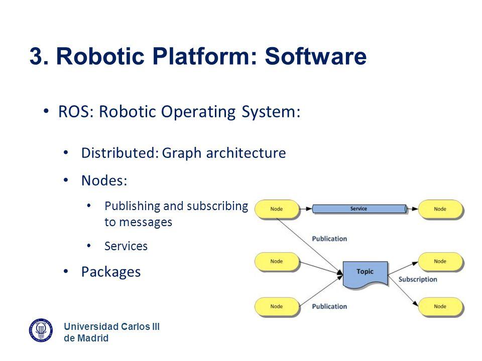 Universidad Carlos III de Madrid 3. Robotic Platform: Software ROS: Robotic Operating System: Distributed: Graph architecture Nodes: Publishing and su