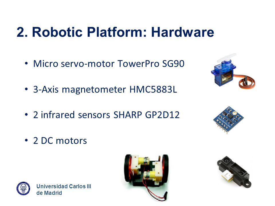 Universidad Carlos III de Madrid 2. Robotic Platform: Hardware Micro servo-motor TowerPro SG90 3-Axis magnetometer HMC5883L 2 infrared sensors SHARP G