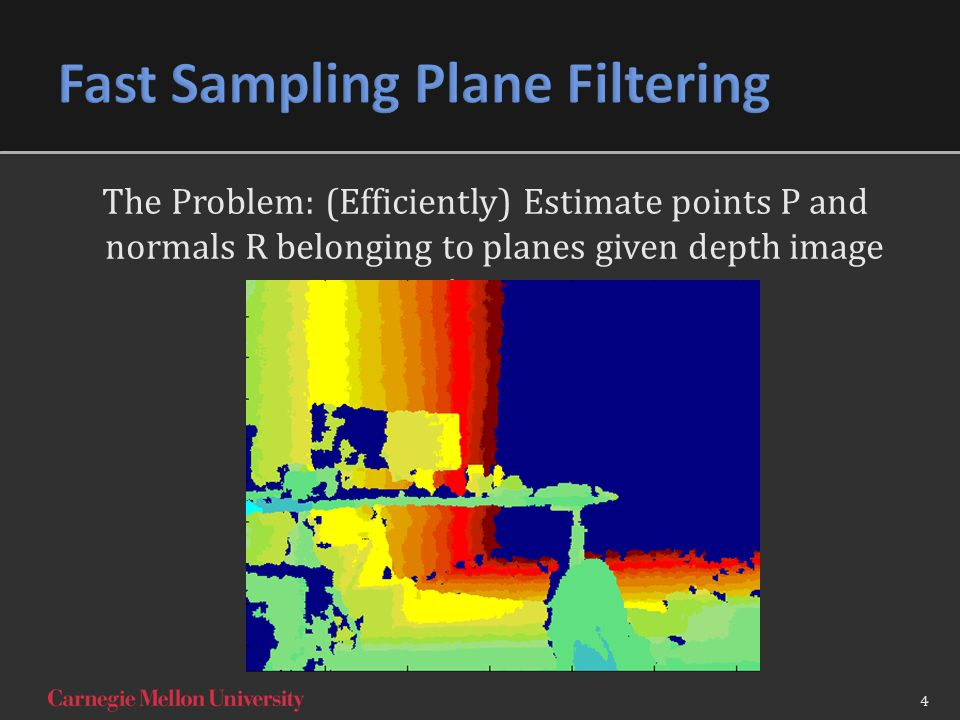 The Problem: (Efficiently) Estimate points P and normals R belonging to planes given depth image image 4