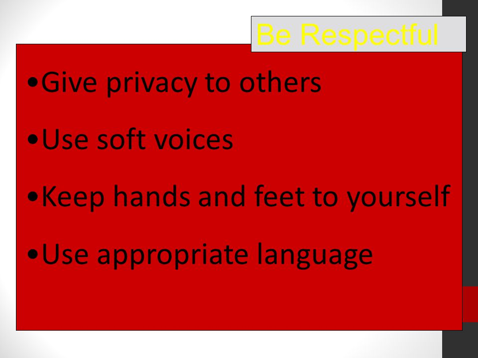 Give privacy to others Use soft voices Keep hands and feet to yourself Use appropriate language Be Respectful