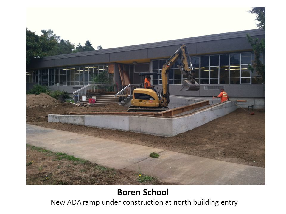 Boren School Landing and walkway poured at new ADA ramp at north building entry