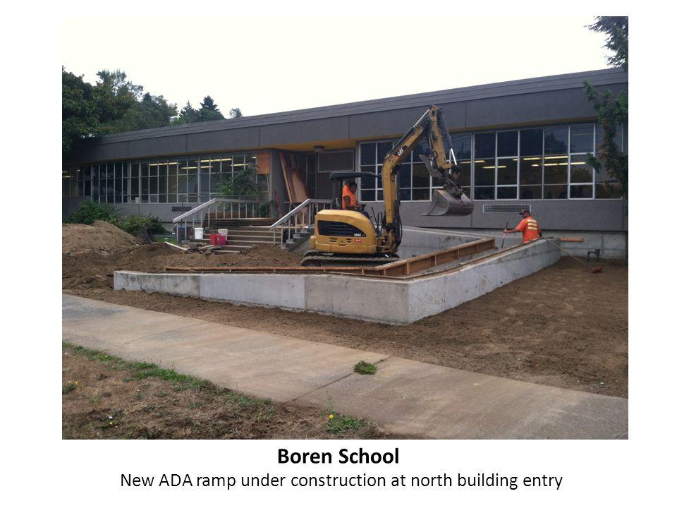 Boren School New ADA ramp under construction at north building entry