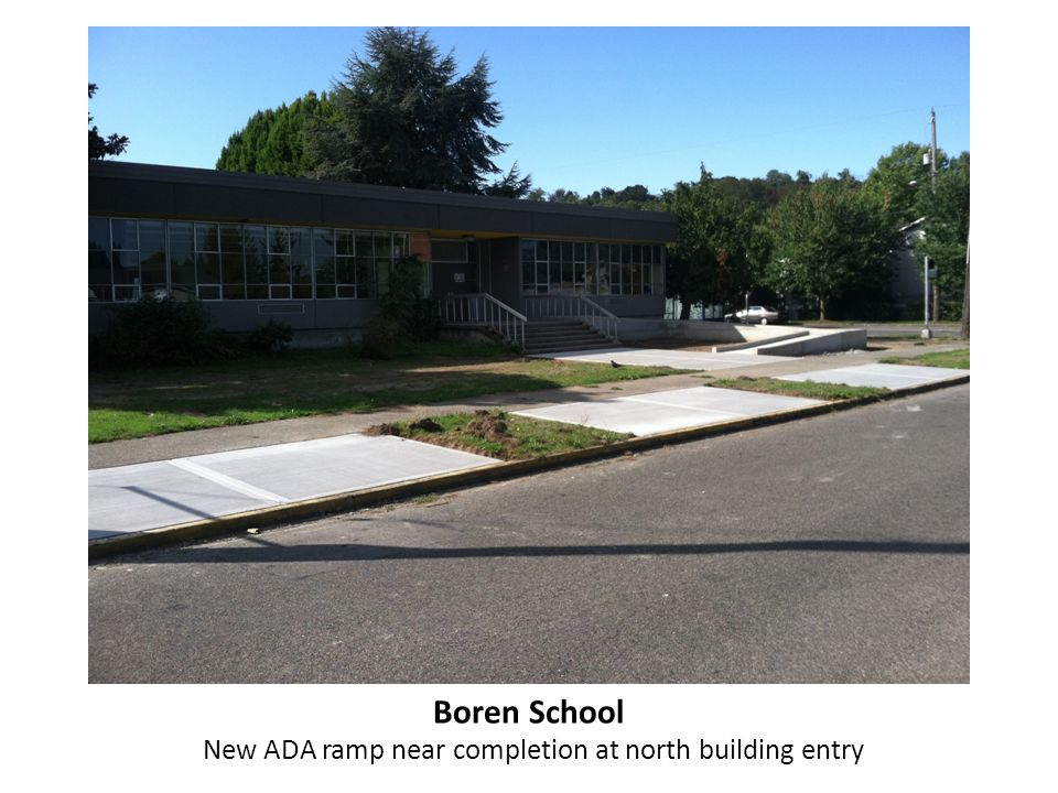 Boren School New ADA ramp near completion at north building entry