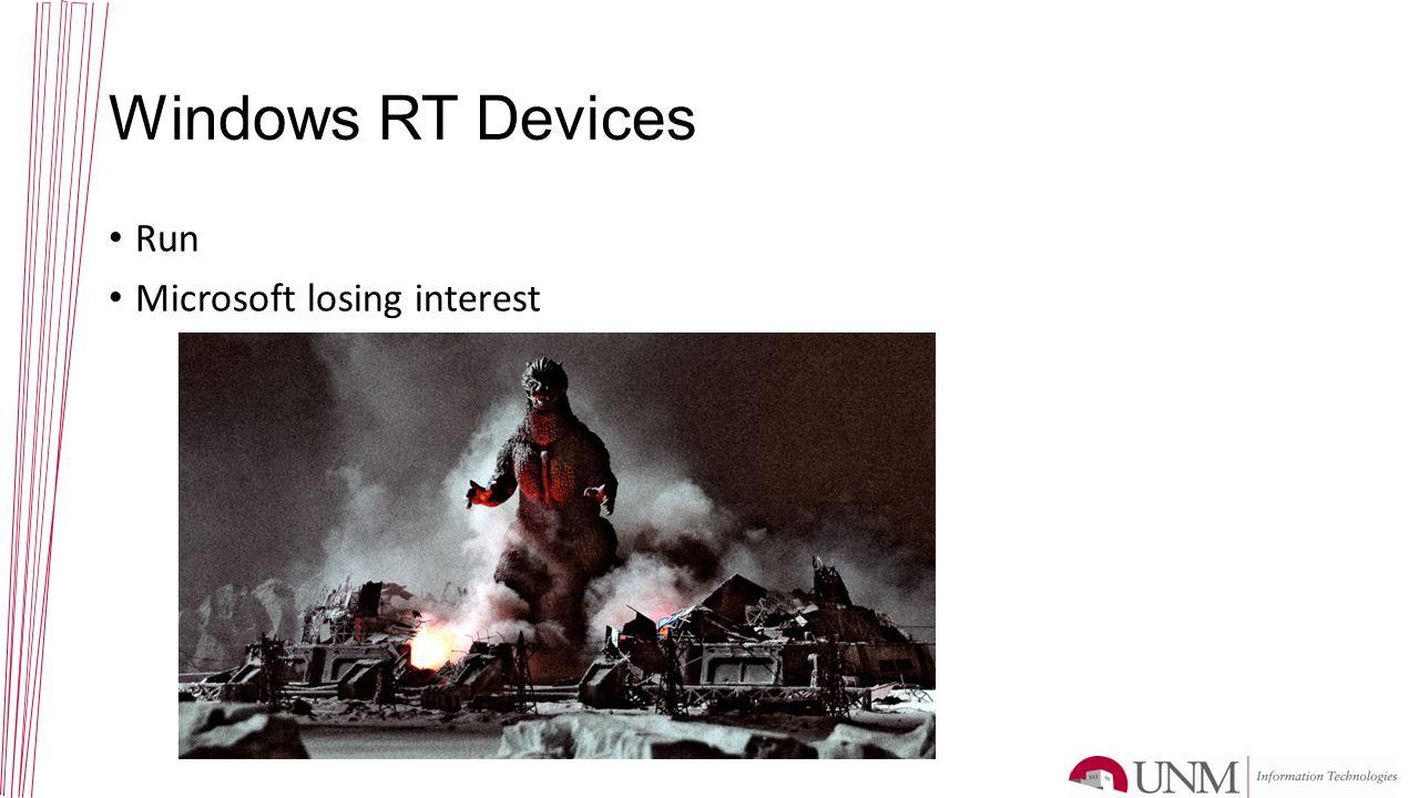 Windows RT Devices Run Microsoft losing interest
