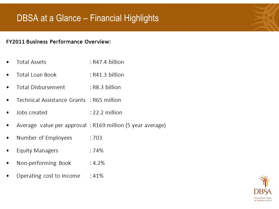 DBSA at a Glance – Financial Highlights FY2011 Business Performance Overview: Total Assets: R47.4 billion Total Loan Book : R41.3 billion Total Disbursement: R8.3 billion Technical Assistance Grants: R65 million Jobs created: 22.2 million Average value per approval: R169 million (5 year average) Number of Employees: 703 Equity Managers: 74% Non-performing Book: 4.2% Operating cost to Income: 41%
