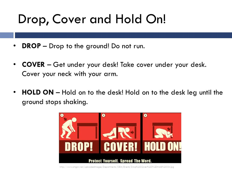 DROP – Drop to the ground. Do not run. COVER – Get under your desk.