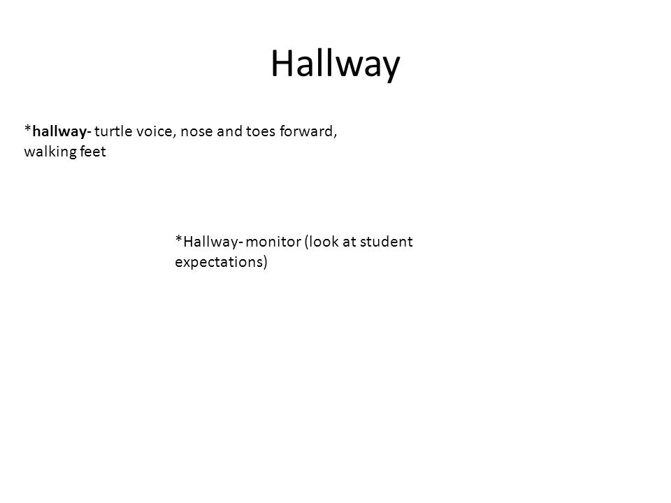 Hallway *hallway- turtle voice, nose and toes forward, walking feet *Hallway- monitor (look at student expectations)