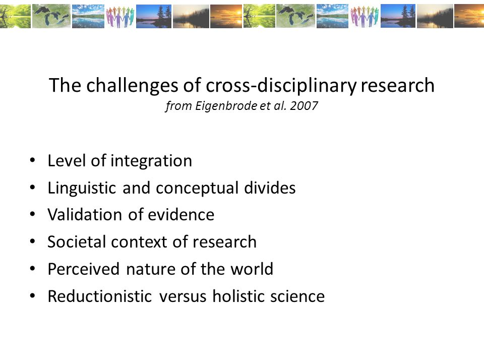 The challenges of cross-disciplinary research from Eigenbrode et al.