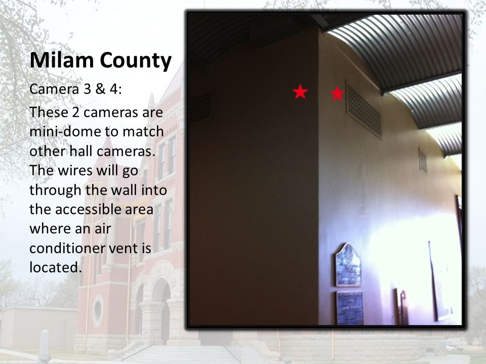 Milam County Camera 3 & 4: These 2 cameras are mini-dome to match other hall cameras.
