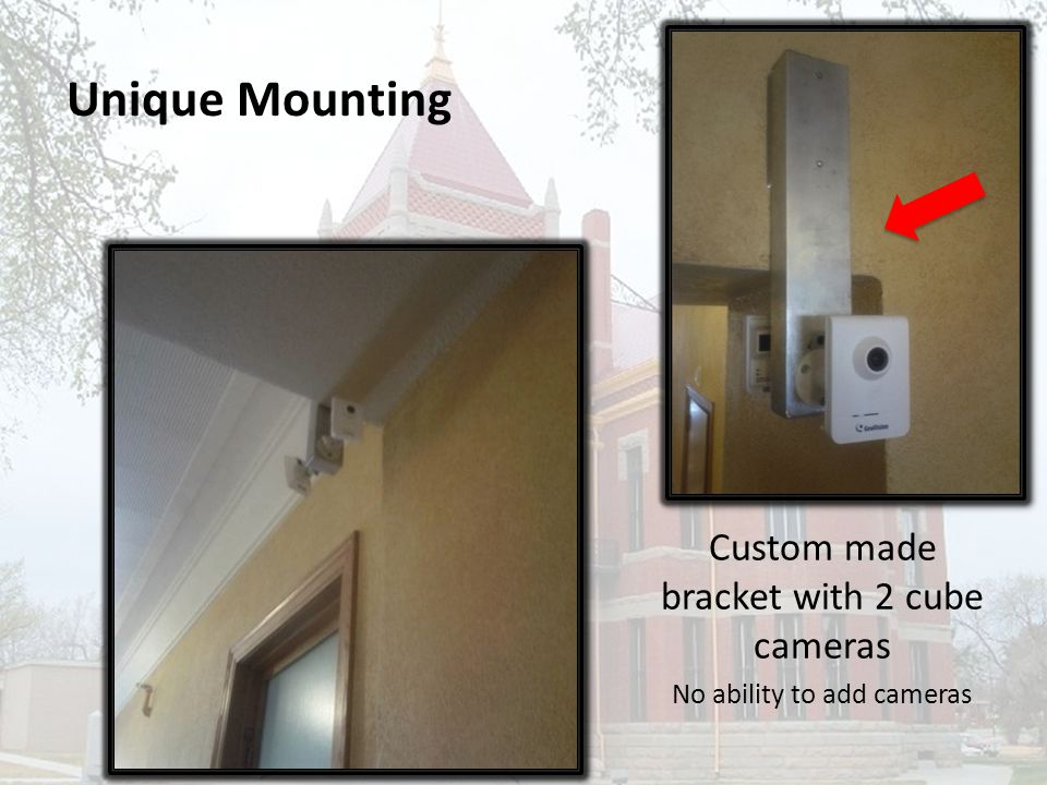 Unique Mounting Custom made bracket with 2 cube cameras No ability to add cameras