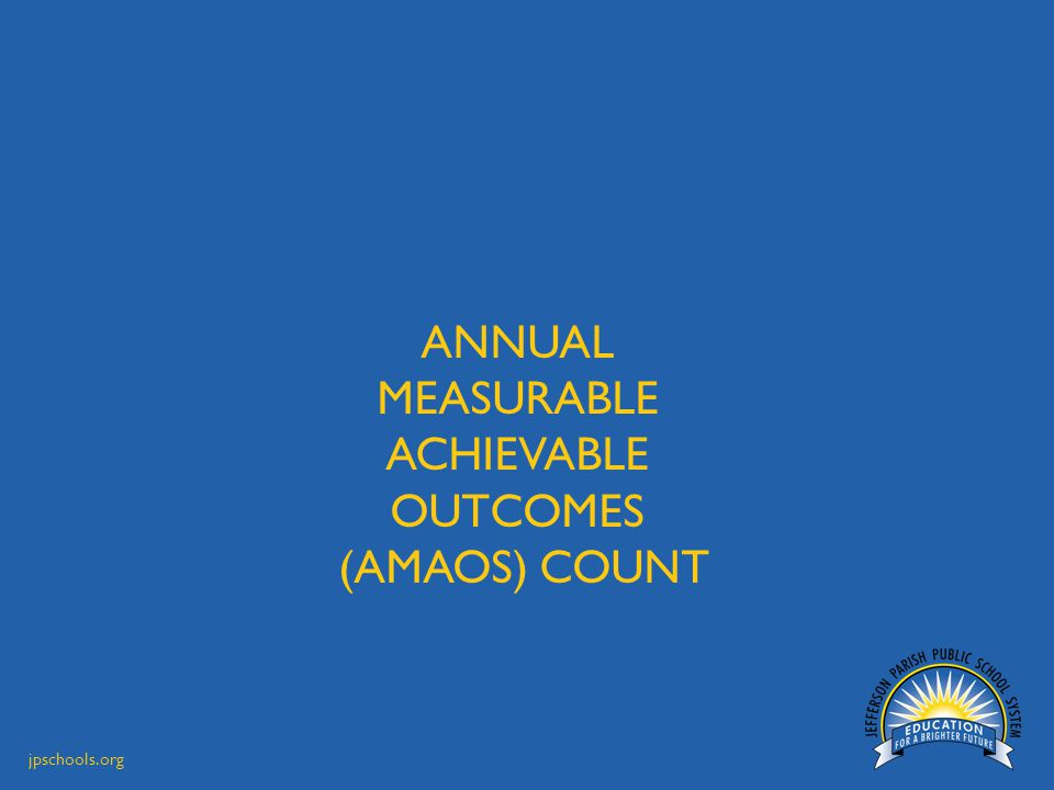 jpschools.org ANNUAL MEASURABLE ACHIEVABLE OUTCOMES (AMAOS) COUNT