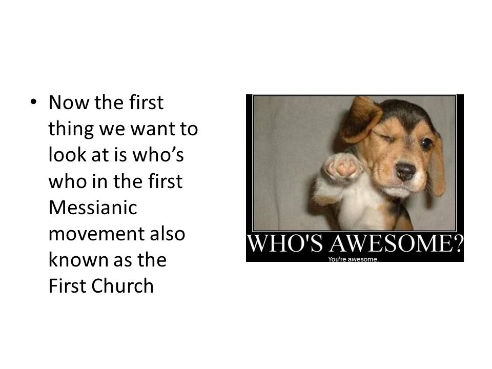 Who's who? Now the first thing we want to look at is who's who in the first Messianic movement also known as the First Church