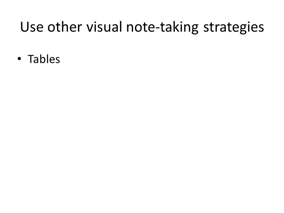 Use other visual note-taking strategies Tables