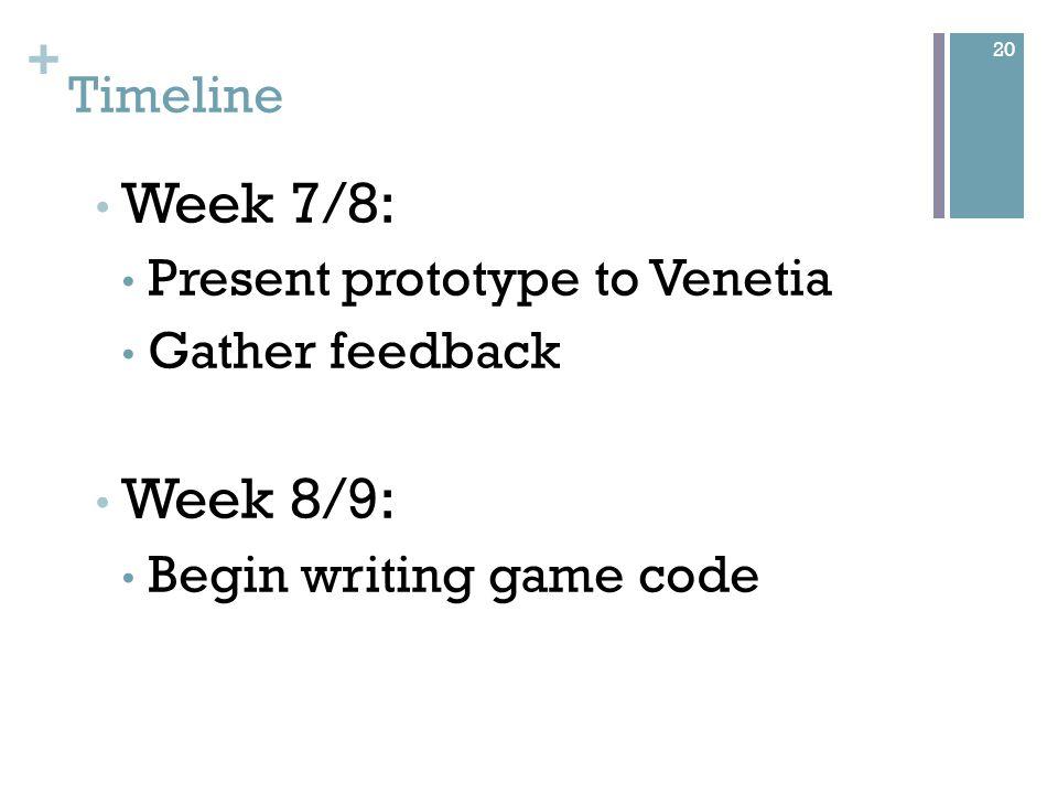 + Timeline Week 7/8: Present prototype to Venetia Gather feedback Week 8/9: Begin writing game code 20