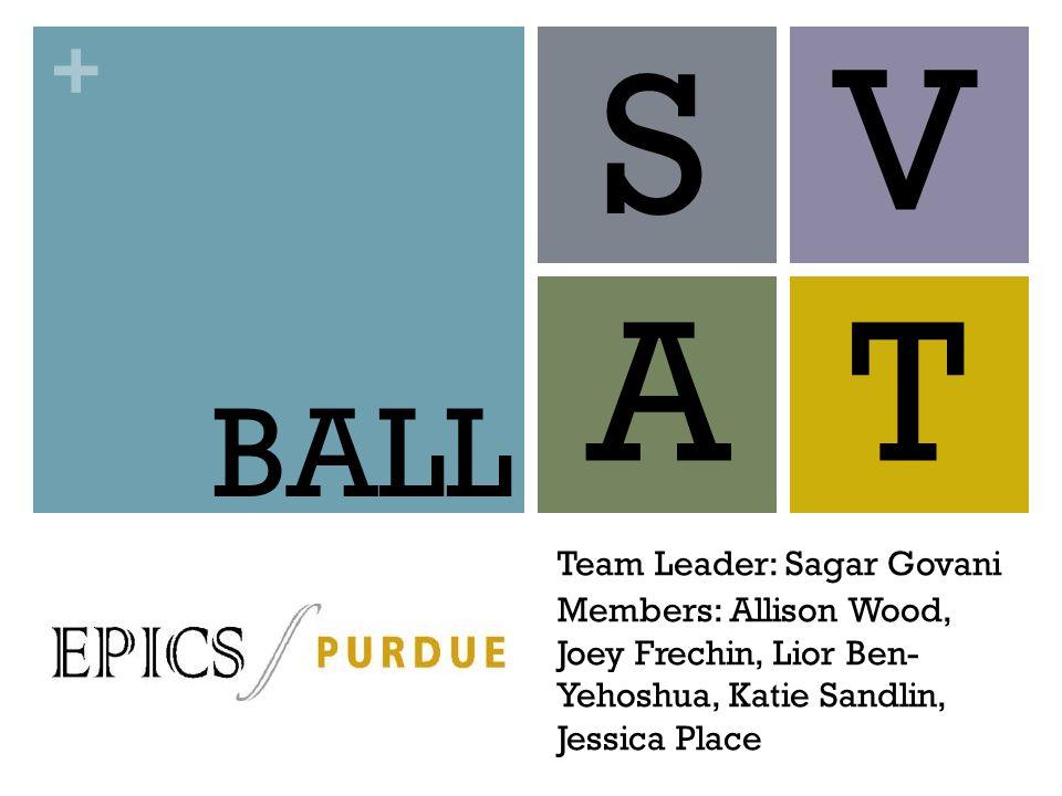 + S Team Leader: Sagar Govani Members: Allison Wood, Joey Frechin, Lior Ben- Yehoshua, Katie Sandlin, Jessica Place V AT BALL