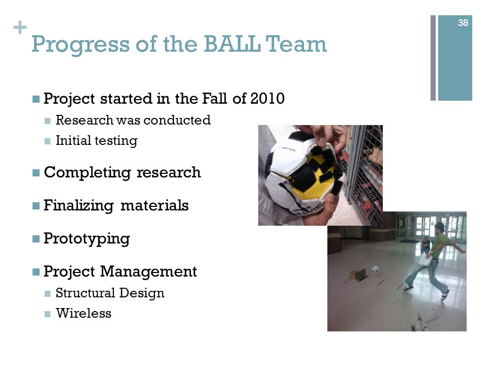 + Progress of the BALL Team Project started in the Fall of 2010 Research was conducted Initial testing Completing research Finalizing materials Prototyping Project Management Structural Design Wireless 38