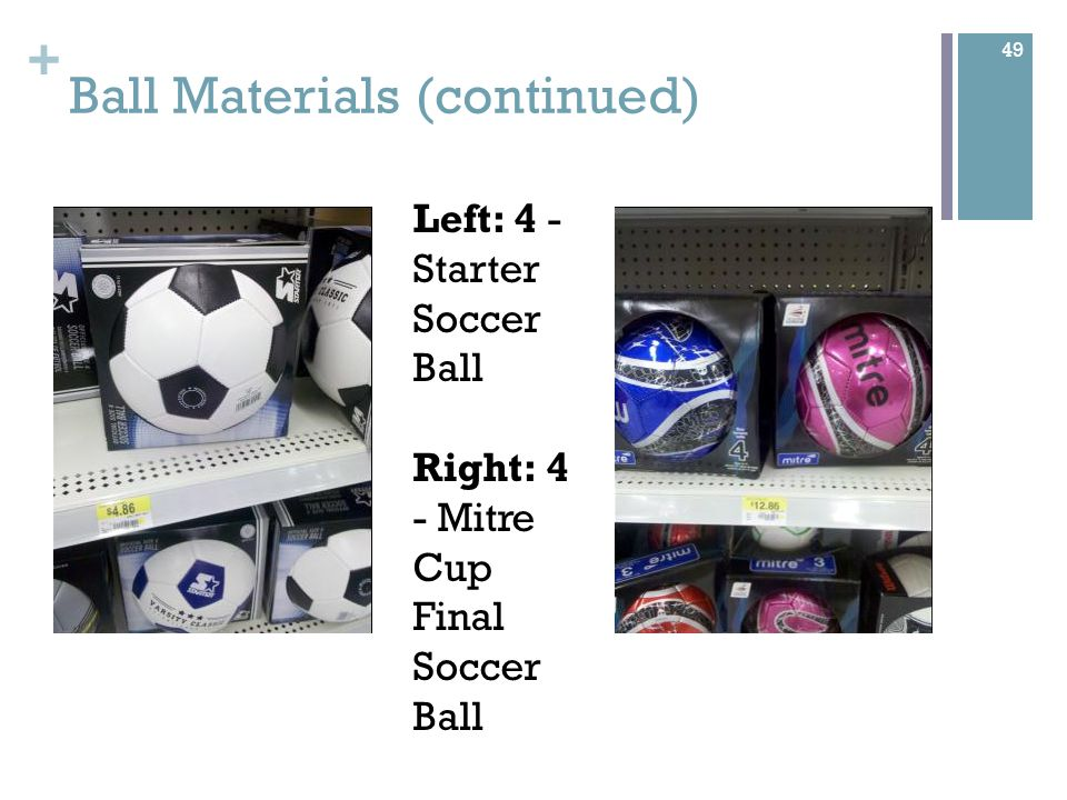 + Ball Materials (continued) Left: 4 - Starter Soccer Ball Right: 4 - Mitre Cup Final Soccer Ball 49