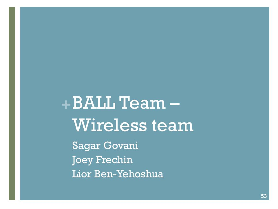 + BALL Team – Wireless team Sagar Govani Joey Frechin Lior Ben-Yehoshua 53