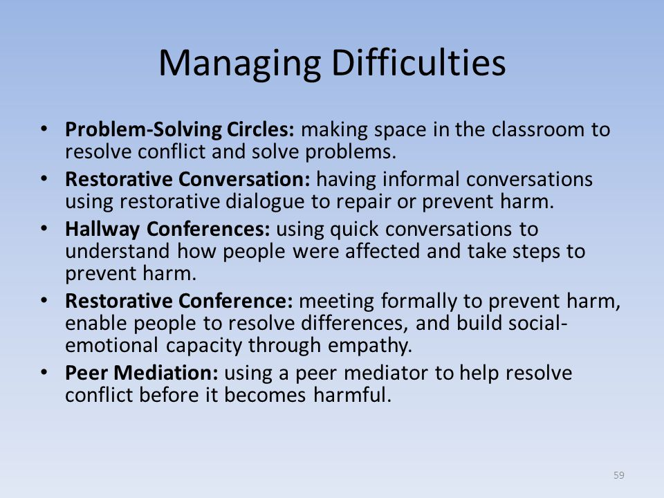 Managing Difficulties Problem-Solving Circles: making space in the classroom to resolve conflict and solve problems.