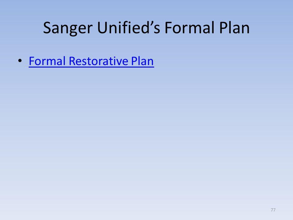 Sanger Unified's Formal Plan Formal Restorative Plan 77