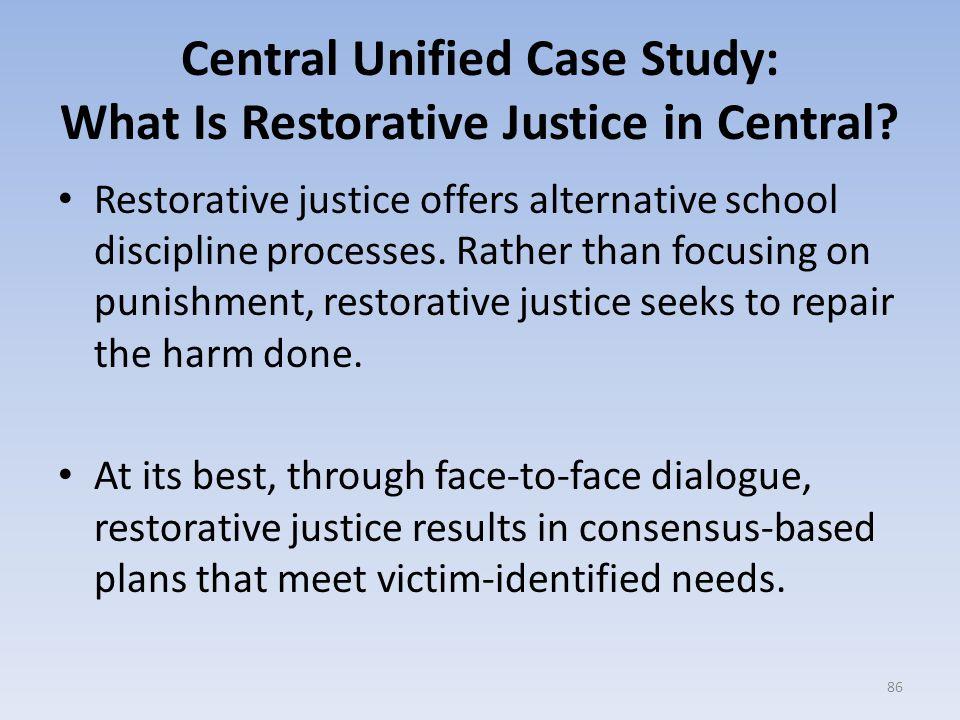 Restorative justice offers alternative school discipline processes.
