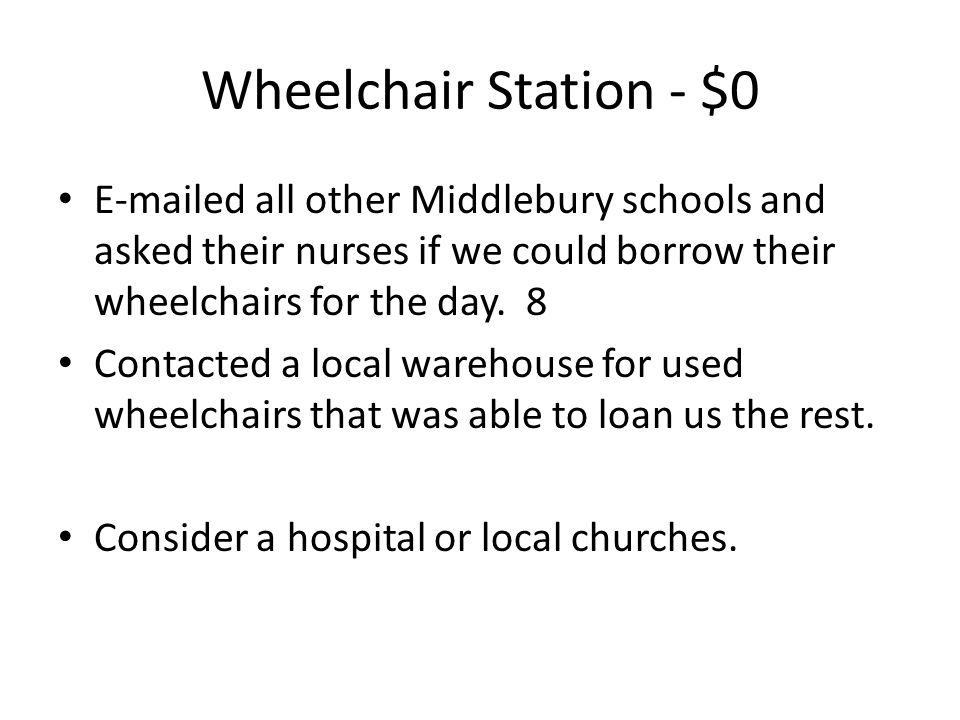 Wheelchair Station - $0 E-mailed all other Middlebury schools and asked their nurses if we could borrow their wheelchairs for the day.