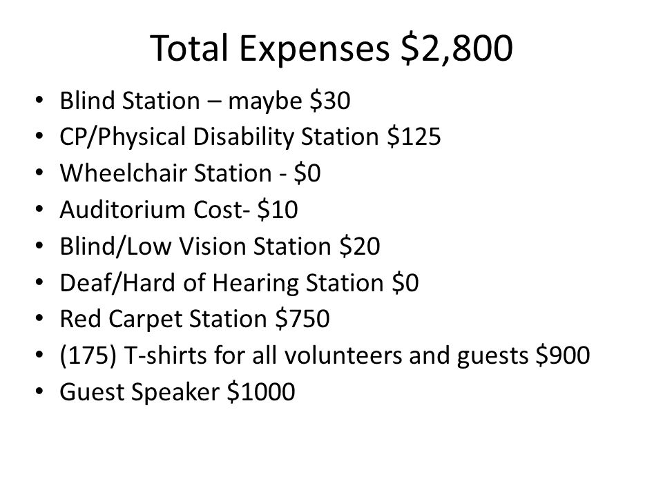 Total Expenses $2,800 Blind Station – maybe $30 CP/Physical Disability Station $125 Wheelchair Station - $0 Auditorium Cost- $10 Blind/Low Vision Station $20 Deaf/Hard of Hearing Station $0 Red Carpet Station $750 (175) T-shirts for all volunteers and guests $900 Guest Speaker $1000