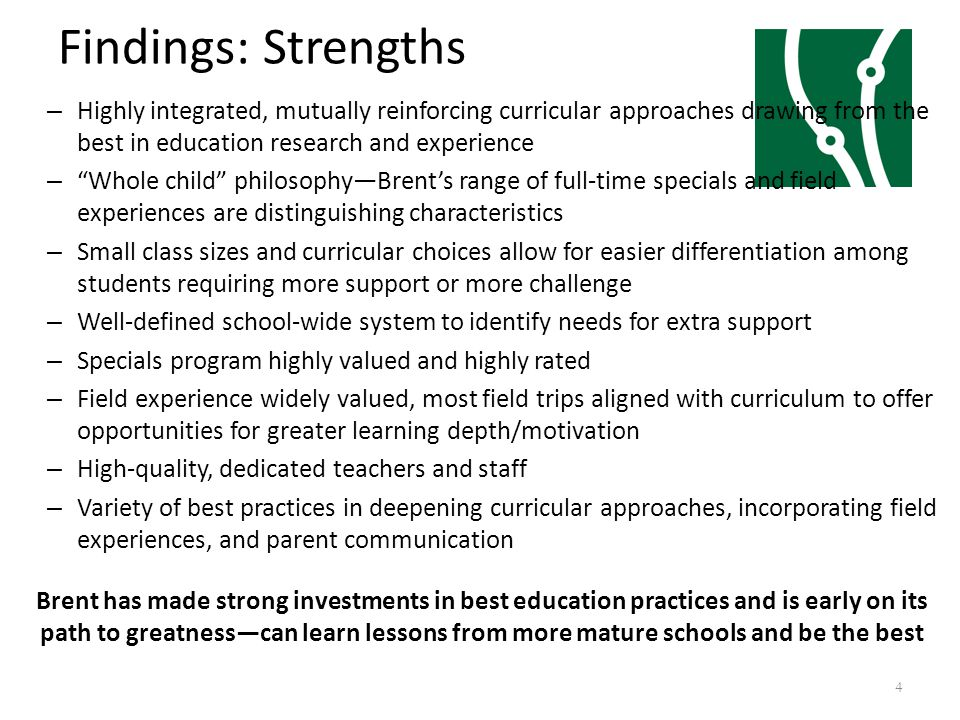 Findings: Strengths – Highly integrated, mutually reinforcing curricular approaches drawing from the best in education research and experience – Whole child philosophy—Brent's range of full-time specials and field experiences are distinguishing characteristics – Small class sizes and curricular choices allow for easier differentiation among students requiring more support or more challenge – Well-defined school-wide system to identify needs for extra support – Specials program highly valued and highly rated – Field experience widely valued, most field trips aligned with curriculum to offer opportunities for greater learning depth/motivation – High-quality, dedicated teachers and staff – Variety of best practices in deepening curricular approaches, incorporating field experiences, and parent communication Brent has made strong investments in best education practices and is early on its path to greatness—can learn lessons from more mature schools and be the best 4
