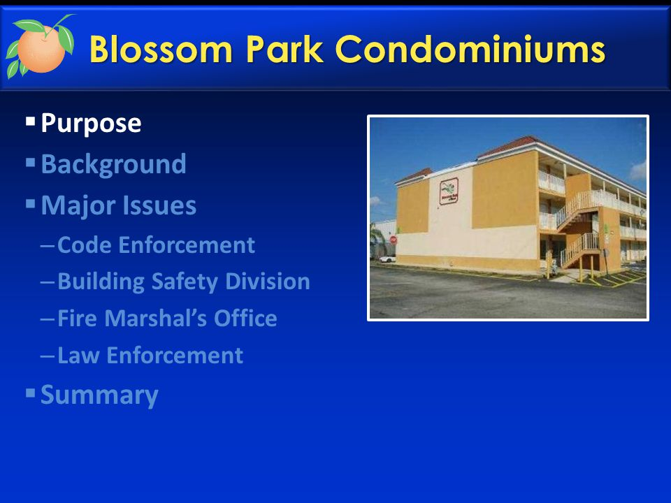 Blossom Park Condominiums  Purpose  Background  Major Issues – Code Enforcement – Building Safety Division – Fire Marshal's Office – Law Enforcement  Summary