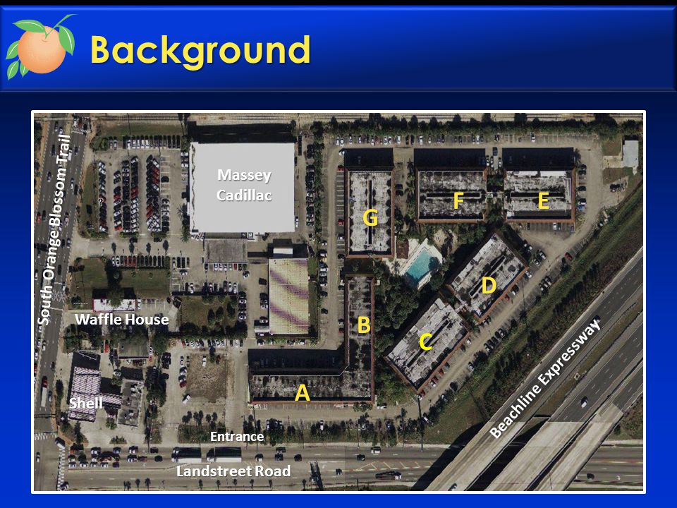 Background  Originally Days Inn Motel  Buildings constructed in 1973 – Concrete block main buildings – Wood structure walkways  Hotel converted to condominiums in 2003  6 buildings – 3 stories – 345 units