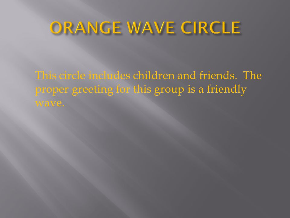 This circle includes children and friends. The proper greeting for this group is a friendly wave.